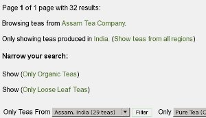Screenshot of browse teas feature