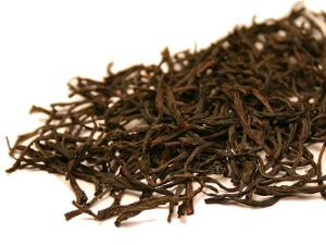 Wiry, brown tea leaves