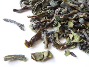 Darjeeling first flush tea leaves, showing a greenish color to some leaves
