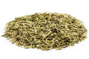 Dried green yerba mate leaf, in small pieces