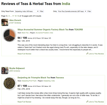 Screenshot of RateTea's feed of reviews of teas from India