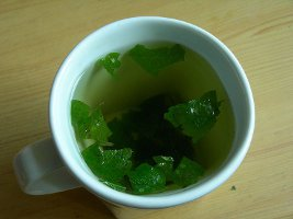Cup with lemon balm leaves steeping in it