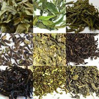 Collage of 9 different loose-leaf teas