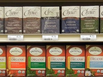 Boxes of organic tea bags
