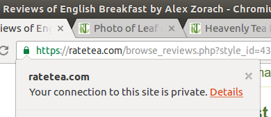 Screenshot of padlock in browser URL bar