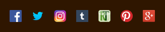 Icons showing facebook, twitter, instagram, Tumblr, RateTea, and Google Plus logos.