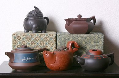 Five different clay yixing teapots