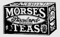 Old Black and White Photo of Box of Morse's Tea