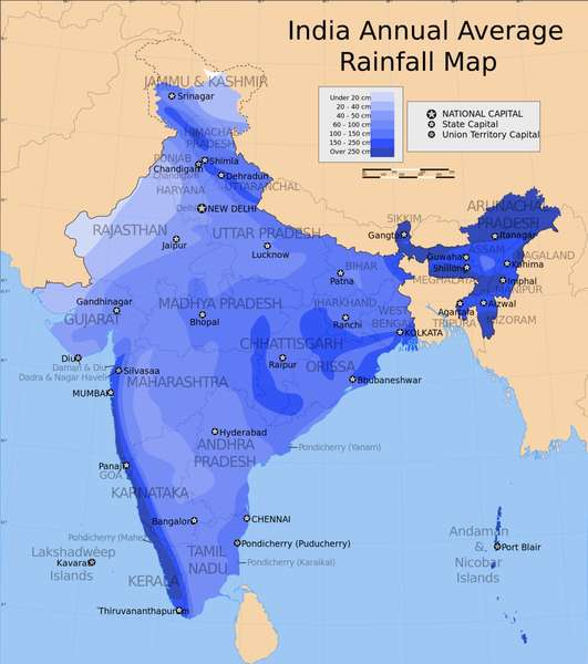 India Annual Average Rainfall Map, darker blue showing areas of higher rainfall along southwest coast, in northeast India, and scattered ridges in far north