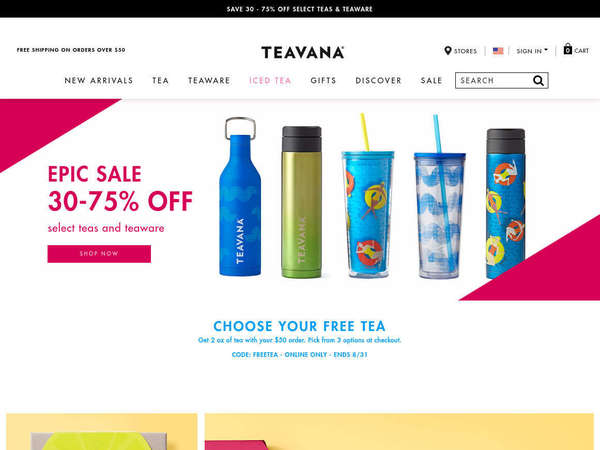Screenshot of Teavana website advertising epic sale, 30-75% off select teas and teaware