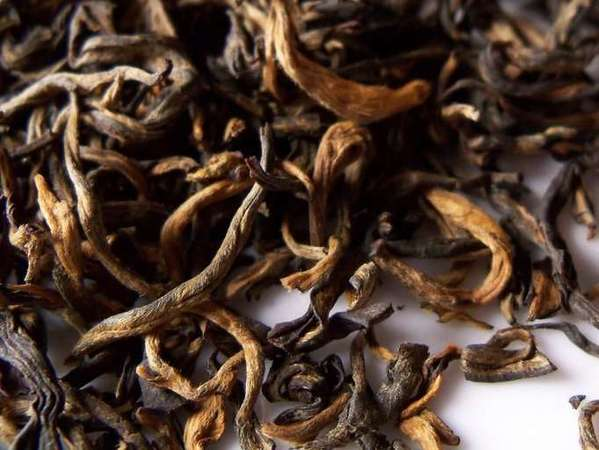 Closeup of loose-leaf black tea with golden and brown colors, dry-looking