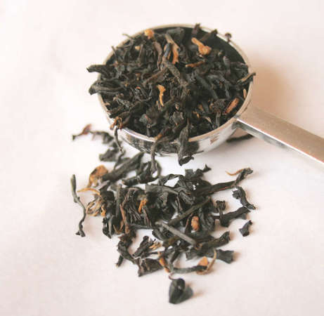Loose-leaf black tea with some orange tip visible, in a measuring spoon with some scattered below, on white background
