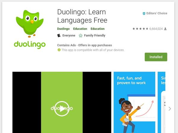 Screenshot of Duolingo's page on Google play store, showing title, rating, and a video