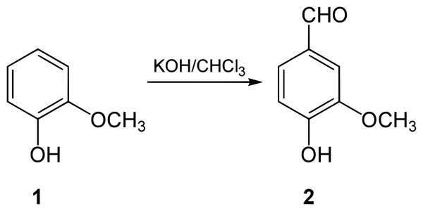 Diagram of Chemical Reaction showing Guaiacol on left, arrow pointing right with KOH/CHCl3 written above, and Vanillin on right