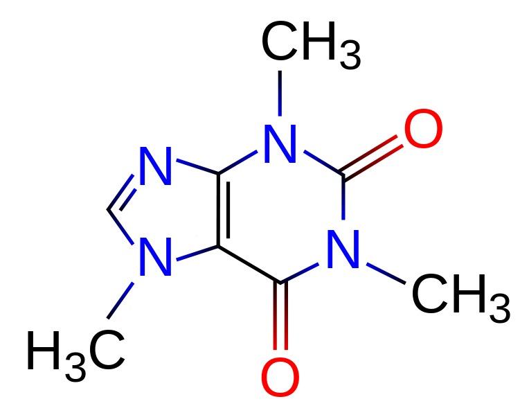 Caffeine Molecular Diagram Color Coded Ratetea Images
