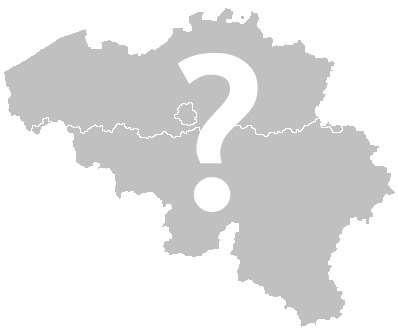 Outline of Belgium in gray, with a white question mark superimposed on the map