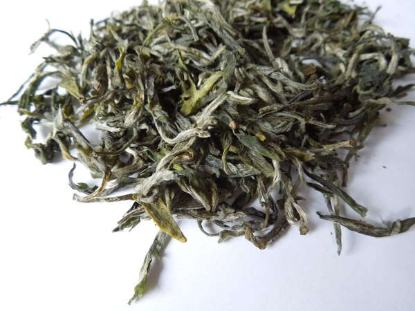 Loose-leaf green tea with many downy, silvery tips and rich green-yellow leaves
