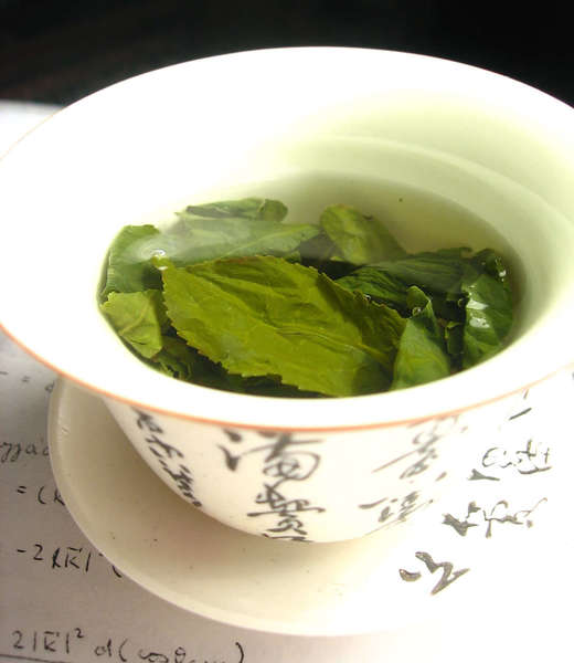 Whole green tea leaves showing clear serrated edges, steeping in a white dish with ornate chinese characters on the outside sides, sitting in a saucer, on top of a white paper with some math equations
